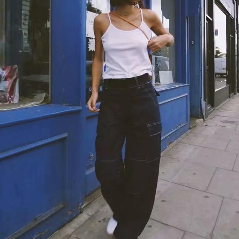 Mom Jeans High Waist Blue Belt New Korean Women Loose Boyfriend Wide Leg Streetwear Baggy Vintage 2019 Denim Pants Ladies 0108