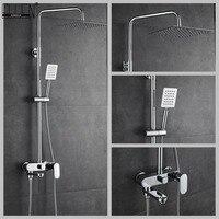 Vidric Bathroom Shower Set 10 12 inch Rain Shower Faucets Bath Mixer with Hand Shower Chrome Bath Shower Mixer Faucet EL8407