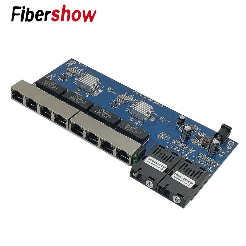 Гигабитный Ethernet-коммутатор волоконно-оптический медиа конвертер pcba 8 RJ45 UTP 2 волоконный порт 10/100/1000 M печатной платы