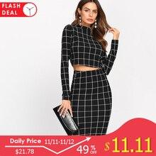 Sheinside Stand Collar Long Sleeve 2 Piece Set Women Crop Grid Top