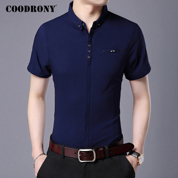 COODRONY Soft Cotton Men Shirt Spring Summer Short Sleeve Mens Shirts Business Casual Social Camisa Masculina With Pocket C6005S coodrony men shirt spring summer short sleeve casual shirts cotton fashion plaid camisa masculina with pocket mens dress c6008s
