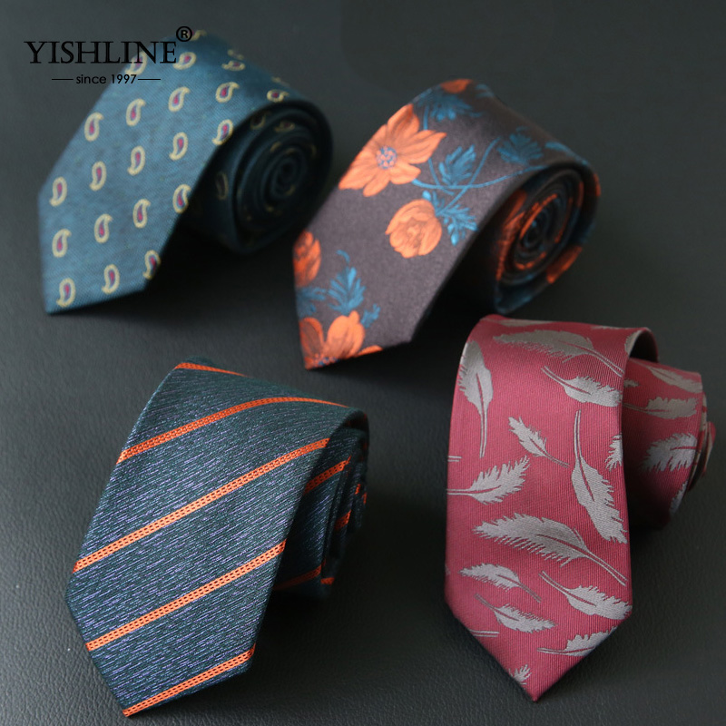 YISHLINE 7CM Mens Tie Striped Paisley Feather Floral Slim Neck Ties For Neckties Business Neckwear Mens Wedding Tie Skinny