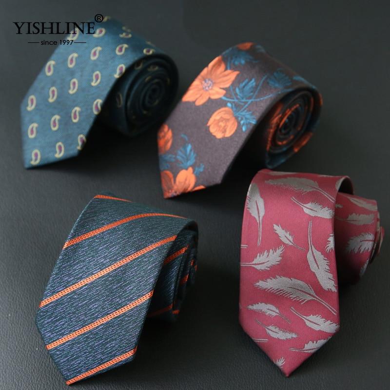 YISHLINE 7CM Mens Tie Striped Paisley Feather Floral Slim Neck Ties For Neckties Business Neckwear Mens Wedding Tie Skinny