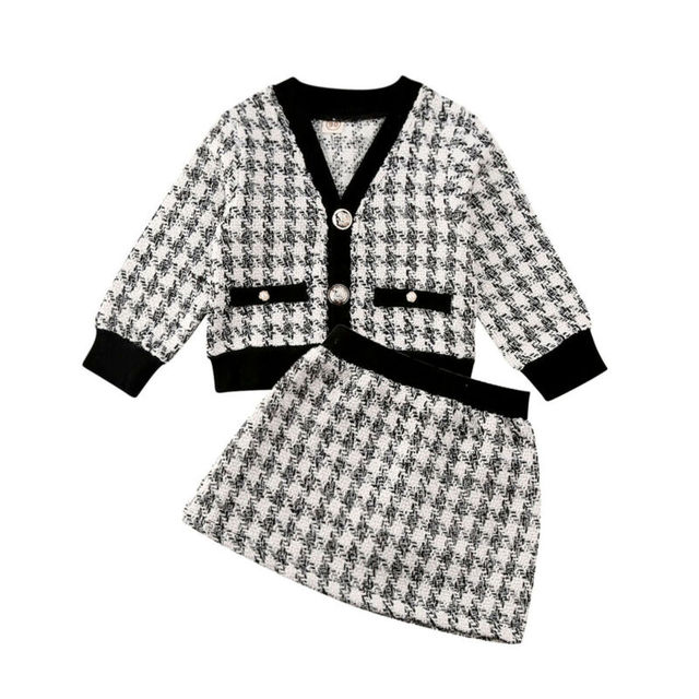 2Pcs Fashion Winter Toddler Baby Girls Outfits Suit Cute Plaid Coat Tops+Skirts Formal Party Kids Children Clothes Set