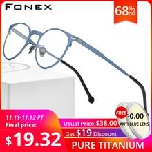 FONEX czysta tytanowa ramka do okularów mężczyźni Retro okrągłe okulary korekcyjne ramki optyczne krótkowzroczność okulary oko szkło dla kobiet 8510