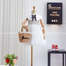 Children's 2020 summer new girl's school style lapel, horizontal bar, mesh splicing, girl's sleeveless princess dress