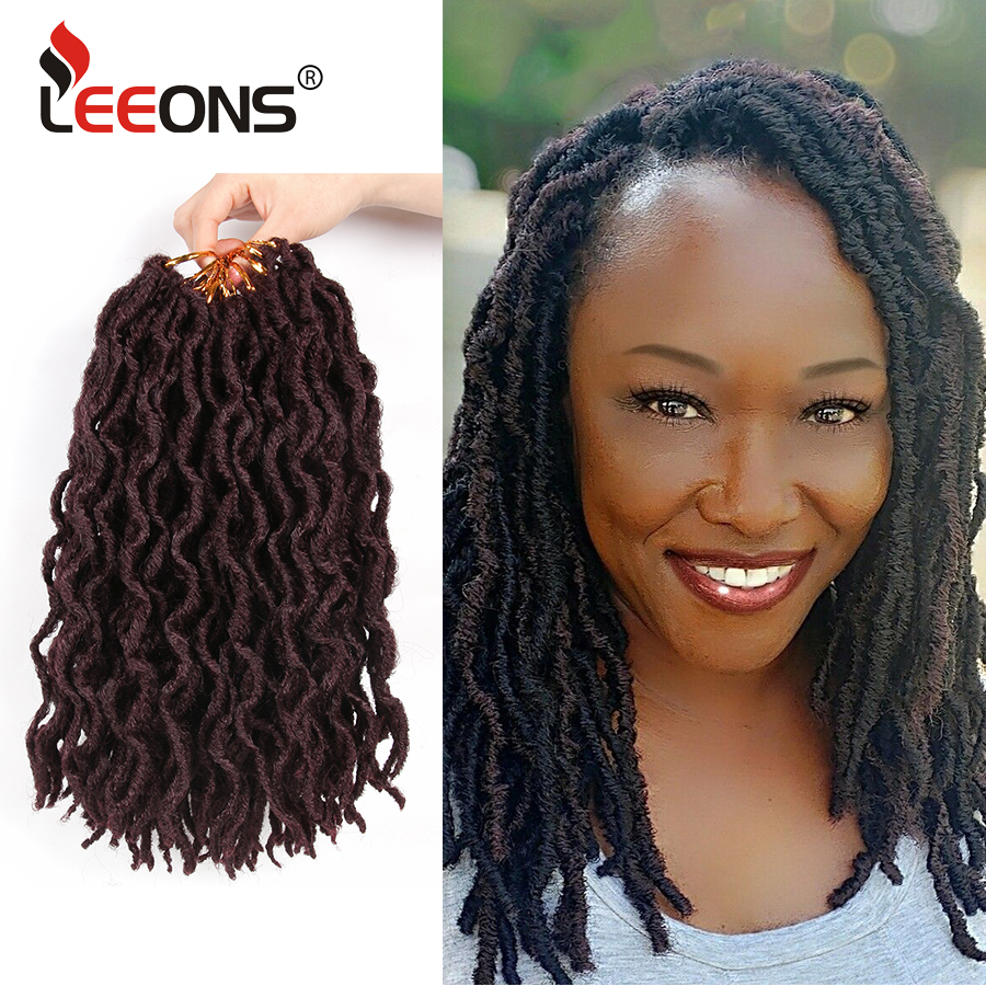 Leeons Nu Locs Curly Crochet Braiding Hair Top Selling Ombre Soft Goddess Faux Locs Sythetic Extension African Hair For Women