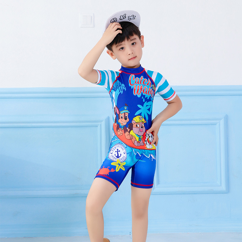 One-piece Swimsuit For Children Big Boy Cartoon Korean-style Half Sleeve One-piece Swimwear BOY'S Capping Hot Springs Diving Sui