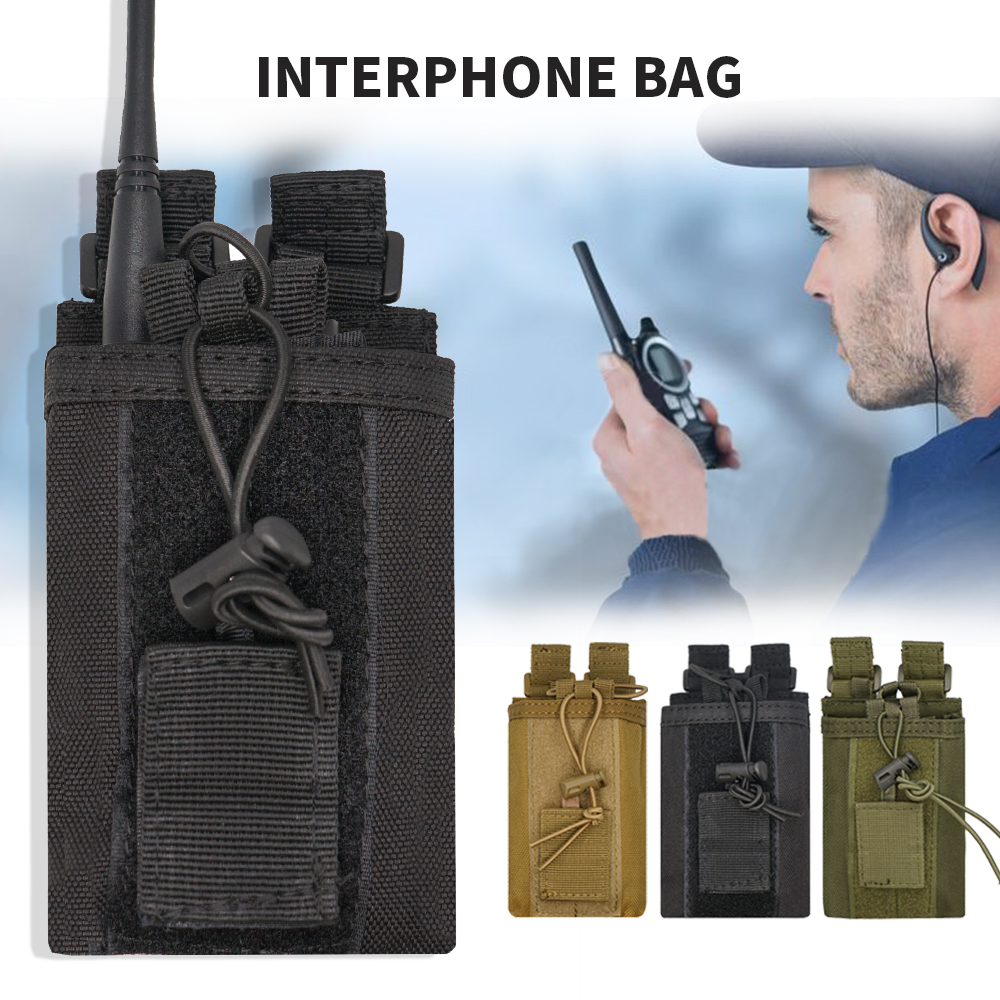 Big Nylon Pouch Bag Outdoor Tactical Sports Hunting Carry Case Walkie Talkie Holder Bag For For Baofeng UV-5R UV-82 UV-9R Plus