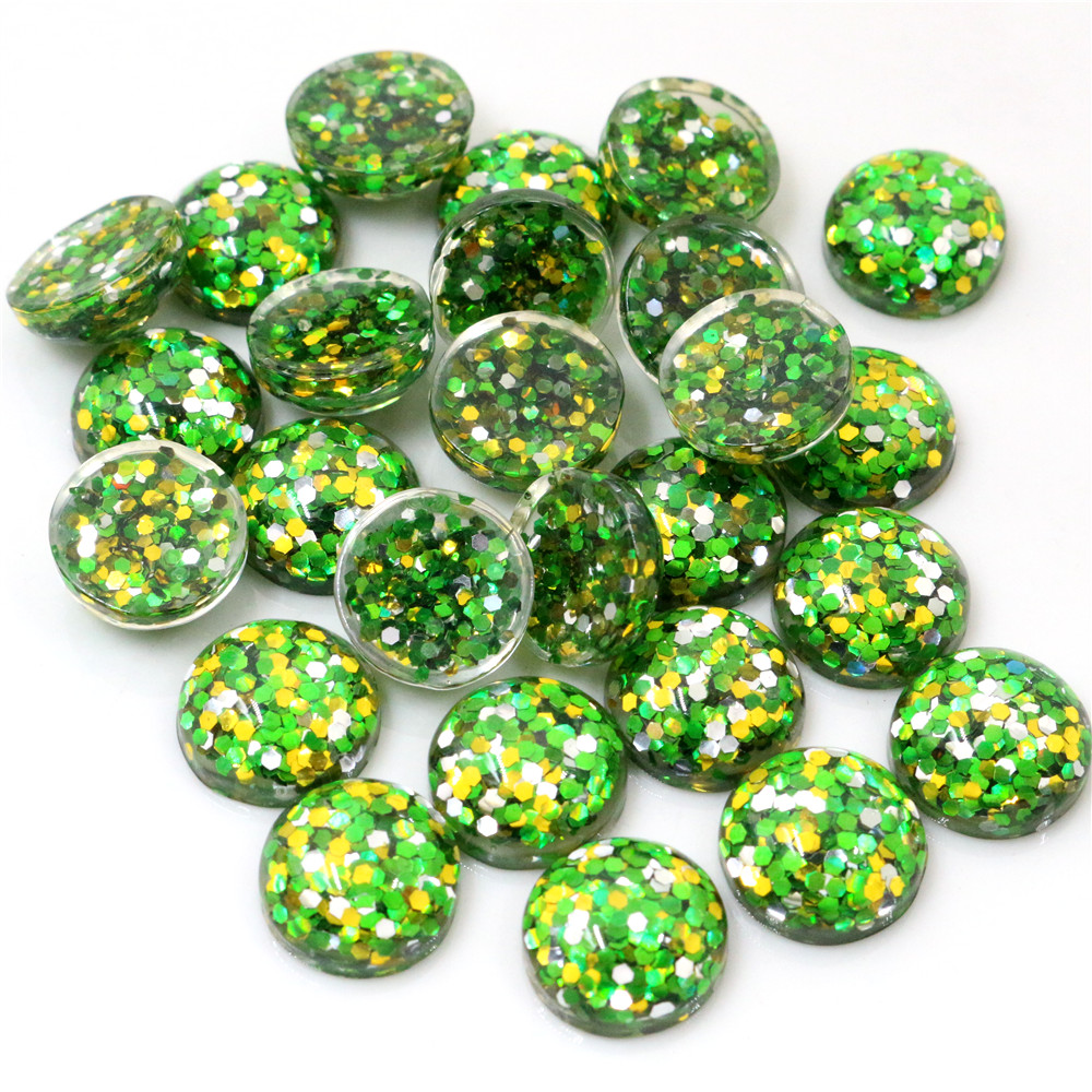 40pcs 12mm New Fashion Green And Blue And Orange And Silver Color Mix Color Flat Back Resin Cabochons Cameo  G3-34