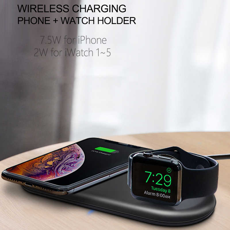 Qi Wireless Charger Pad 2W Magnetic Watch Pengisian untuk Apple IWatch 5 4 3 2 1 QC3.0 Pengisian Cepat untuk iPhone 11 Pro XS Max X 8