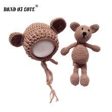 Симпатичный комплект для новорожденной девочки, Подставки для фотографий Детские шапки для девочек и мальчиков трикотажная вязаная, с медведем шляпа Кепки и медведь игровой костюм