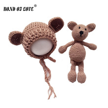 2019 Cute Newborn Photography Props Baby hat Girls Boys Knit Crochet Bear Hat Cap and Toys Costume