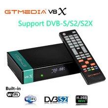 Gtmedia v8x 1080p hd completo DVB-S/s2/s2x receptor de satélite suporte ca powervu bisskey h.265 built-in wifi v8 nova atualização