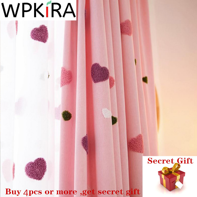 Cartoon Blackout Curtain For Baby Girls Children Bedroom Embroidered 3D Pink Love Heart Luxury Curtain Living Room M057D3
