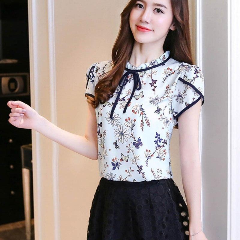 Women Summer Tops Chiffon Blouses Ladies Floral Print Feminine Blouse Long Sleeve Blusas Plus Size 3XL Tops