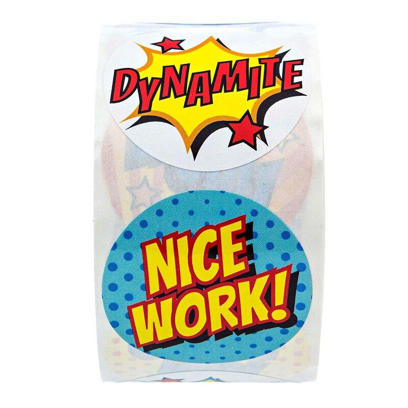 8 Designs Reward Stickers 500Pcs//Roll Cartoon Words Cute Wow Nice Work Amazing G