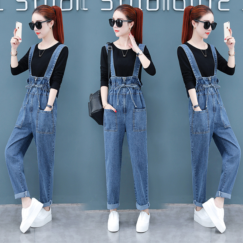 Bib Pants Mom Pants Ageing Buds Bib Pants Female 2020 New Korean Loose Autumn Lady Denim High Waist Overalls Suspenders