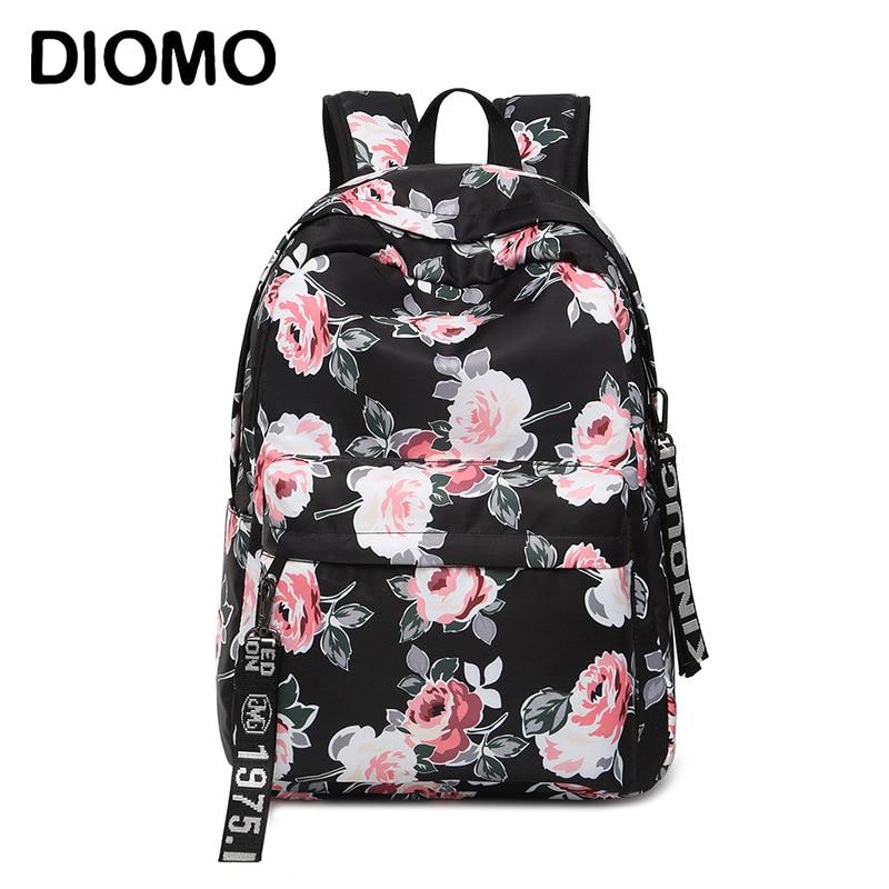 DIOMO Ladies' Schoolbag 2020 Flower Peony Pattern Backpack Elegant School Bag For Girls Vintage Bag