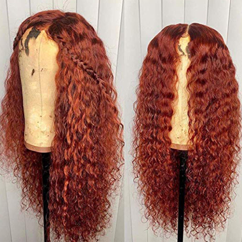 Colored Full Lace Wigs Human Hair Bleached Knots Natural Hailine Curly Wig For Women Pre Plucked with Baby Hair