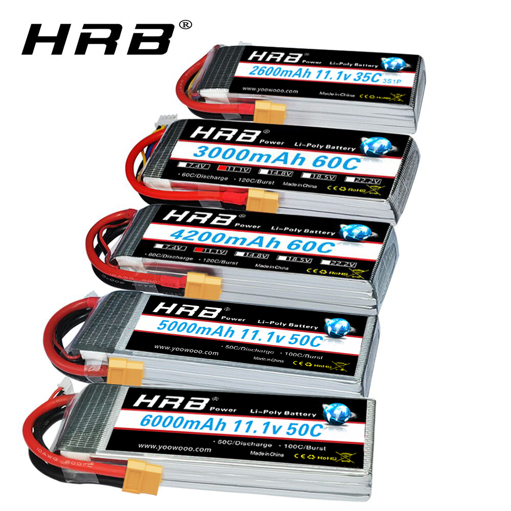 Литий-полимерный аккумулятор HRB RC 3S 11,1 В 5000 мАч 6000 мАч 2600 мАч 3000 мАч 3300 мАч 1800 мАч 4000 мАч литий-полимерный аккумулятор с разъемом XT60 Deans для рад...