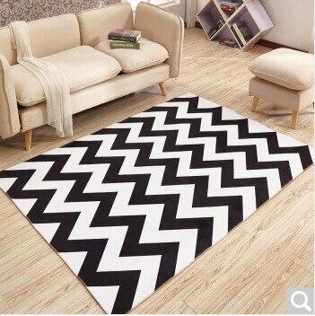 New Nordic 3D Printed Geometric Simple Black White Carpet  Bedroom Living Room Sofa Rug Table Yoga Mat Decorative Non-Slip Mat