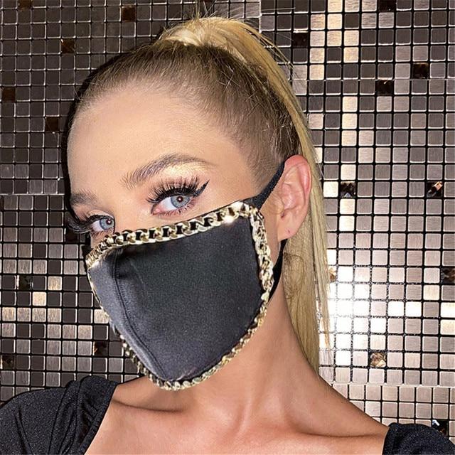 #30 1pcs Fashion Adult Party Sequin Mask Metal Edge Washable Adjustable Reusable Breathable Face Mask mondkapjes wasbaar 1