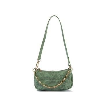 Fashion Crocodile Pattern Baguette bags MINI PU Leather Shoulder Bags For Women 2020 Chain Design Luxury Hand Bag Female Travel - Green