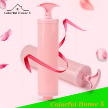 Portable Vacuum Compression Bag Suction Pump Multifunctional Manual Exhaust Bucket Household Commodities PVC Material Pink Whit