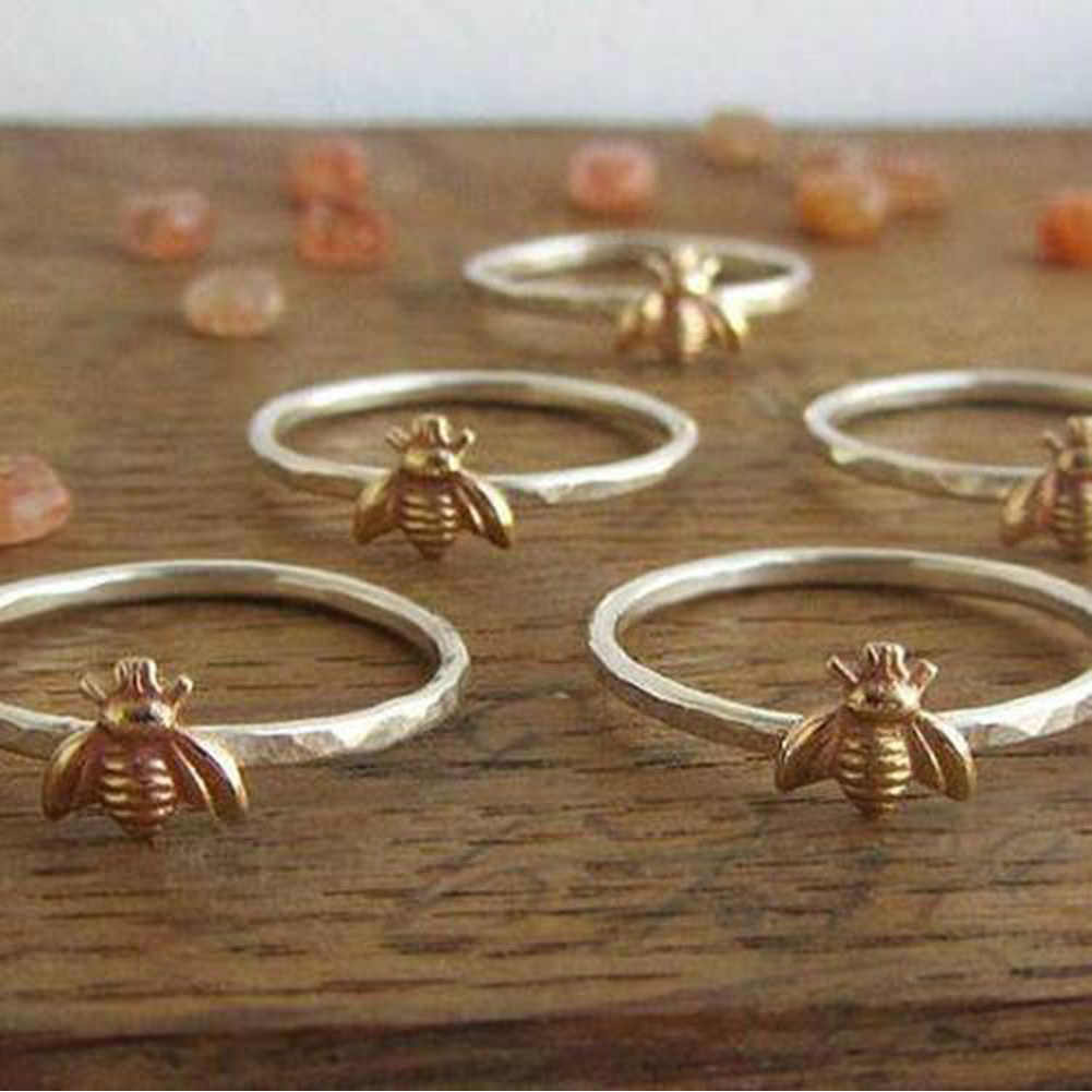 1Pcs Sederhana Kecil Padat Warna Emas Tembaga Lebah Finger Tipis Cincin Emas Dipalu Susun Cincin Laporan Ulang Tahun Pernikahan Perhiasan