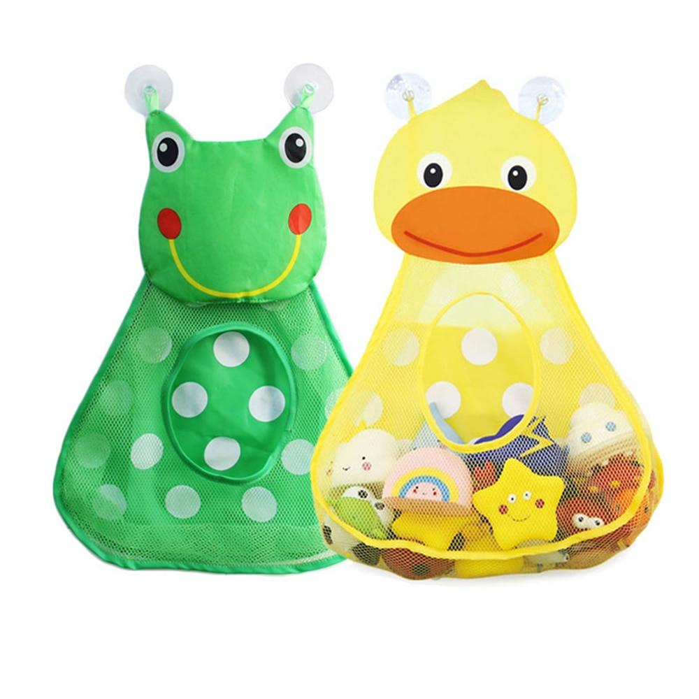 Bathroom Toy Bag Children's Bathroom Toy Storage Hanging Bag Strong Sucker Suction Cups Duck Frog Waterproof Net Wall Pockets