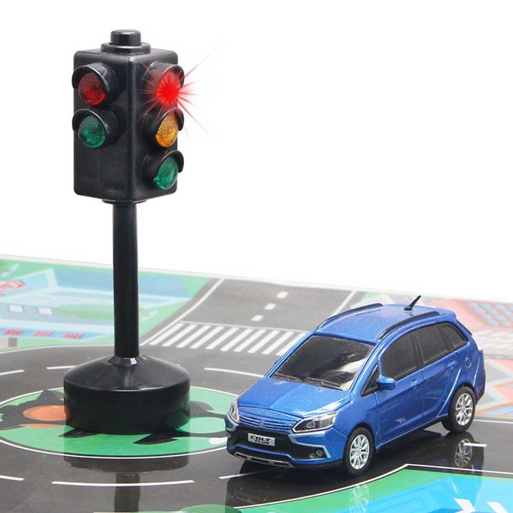 Kids Mini Simulated Public Traffic Lights Model Transportation Signal Lantern Traffic Road Sign Red Green Light Toy