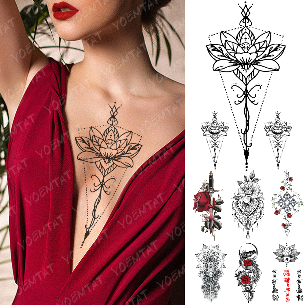 Waterproof Temporary Tattoo Sticker Lotus Flowers Lace Rose Sword Flash Tattoos Dragon Totem Body Art Arm Fake Tatoo Women Men