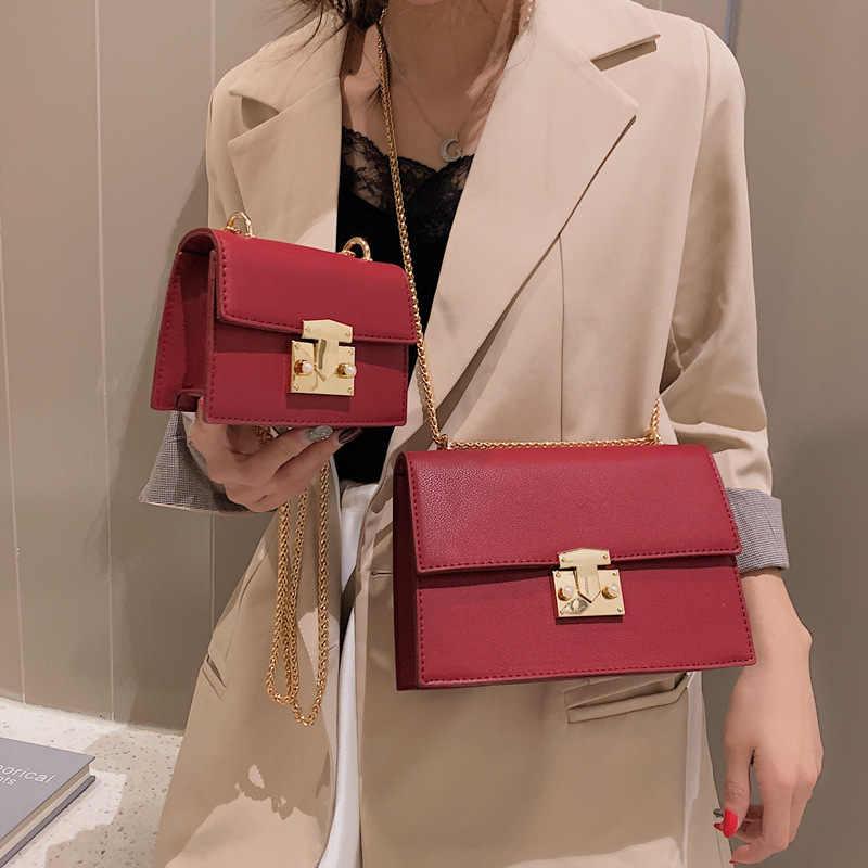 Элегантная женская маленькая квадратная сумка YL, модная дамская сумочка из качественной искусственной кожи, мессенджеры на плечо с цепочкой и замком