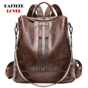 Image 1 - 2019 Vintage Bayan Sırt Çantası Yüksek Kaliteli Gençlik Deri gençler için sırt çantaları Kızlar Kadın Okul omuzdan askili çanta Sırt Çantası mochila