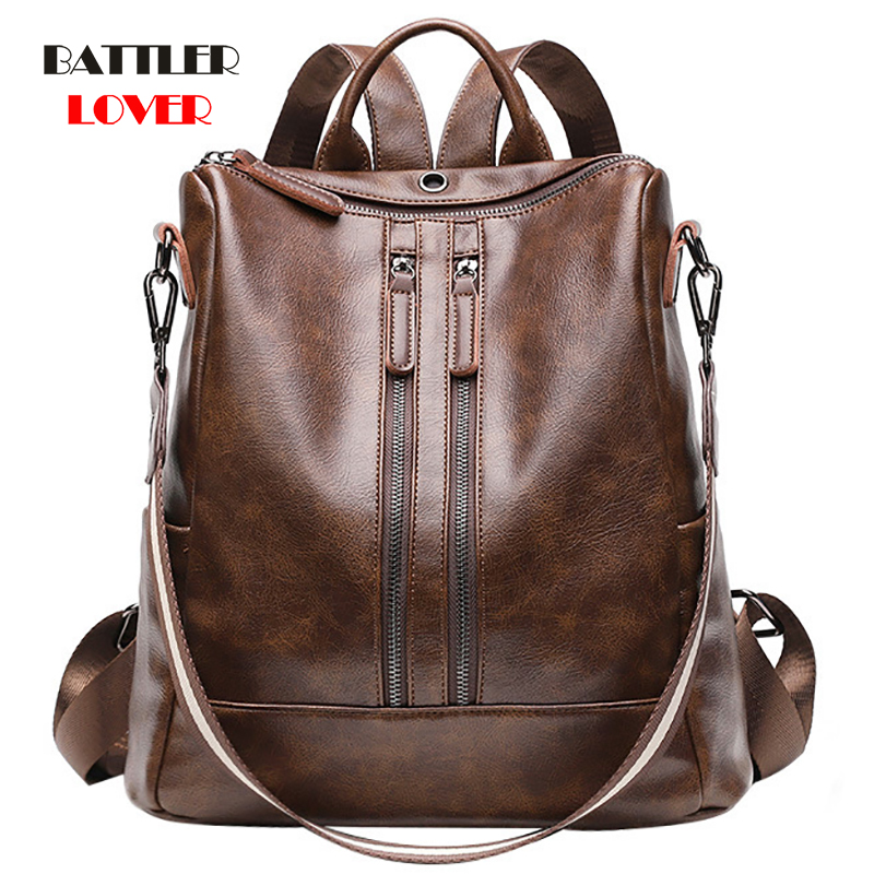 2019 Vintage Womens Backpack High Quality Youth Leather Backpacks For Teenage Girls Females School Shoulder Bag Bagpack Mochila