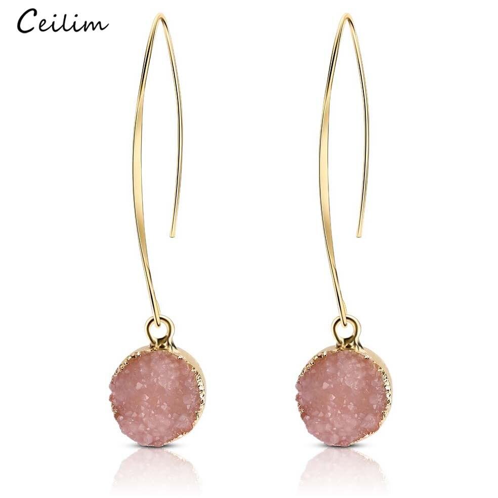 Модные круглые серьги с искусственной друзой золотого цвета для женщин 2020 богемные длинные серьги ручной работы с розовым полимерным камне...
