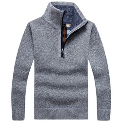 Autumn Winter Men Thick Warm Sweater Pullovers Coat Casual Stand Collar Zipper Wool Sweatercoat Male Knitted Sweaters Jackets