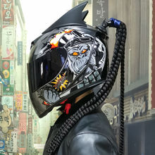 Motorcycle Full Face Helmet Motorcycle Racing Double Mirror Helmet with Removable Lining DOT Approved