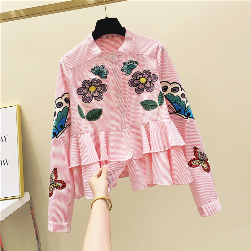 Vintage Blouse Tops for Women's Embroidered Striped Stand-Collar Ruffle Long-Sleeved Shirt 2020 Autumn Shirt A-line Loose Blusas