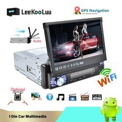 LeeKooLuu 1 Din Android 7,1 автомобильный радиоприемник с авто выдвижным экраном Универсальный USB с обезьянкой Mirrorlink gps Автомобильный мультимедийный