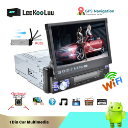 LeeKooLuu 1 Din Android 7.1 Car Radio With Auto Retractable Screen Universal Radio Bluetooth Wifi Mirrorlink GPS Car multimedia