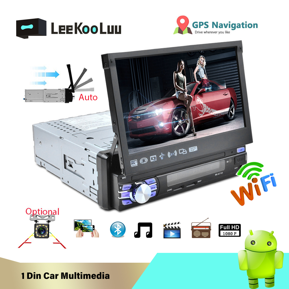 LeeKooLuu 1 Din Android 7.1 Car Radio With Auto Retractable Screen Universal Radio Bluetooth Wifi Mirrorlink GPS Car multimedia image