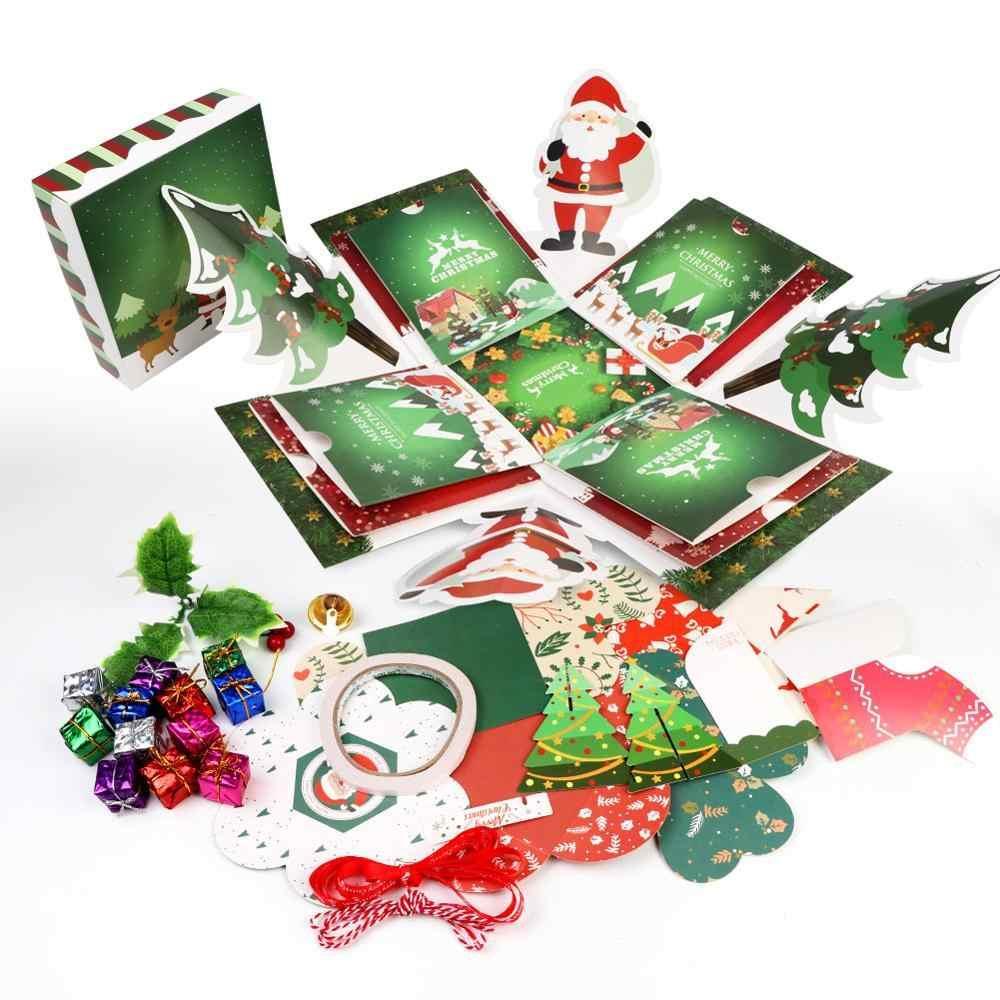 OurWarm لتقوم بها بنفسك مفاجأة حفلة عيد الميلاد انفجار صندوق لعيد الميلاد سجل القصاصات لتقوم بها بنفسك ألبوم صور 2019 السنة الجديدة الاطفال هدية 15x15x15 سنتيمتر