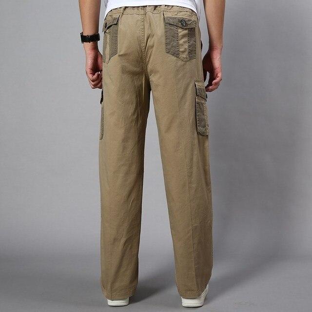 Plus Size Big Men Cargo Pants Casual Men Elastic Waist Multi Pocket Overall Cotton Pants Male Long Baggy Large Trouser 5XL 5