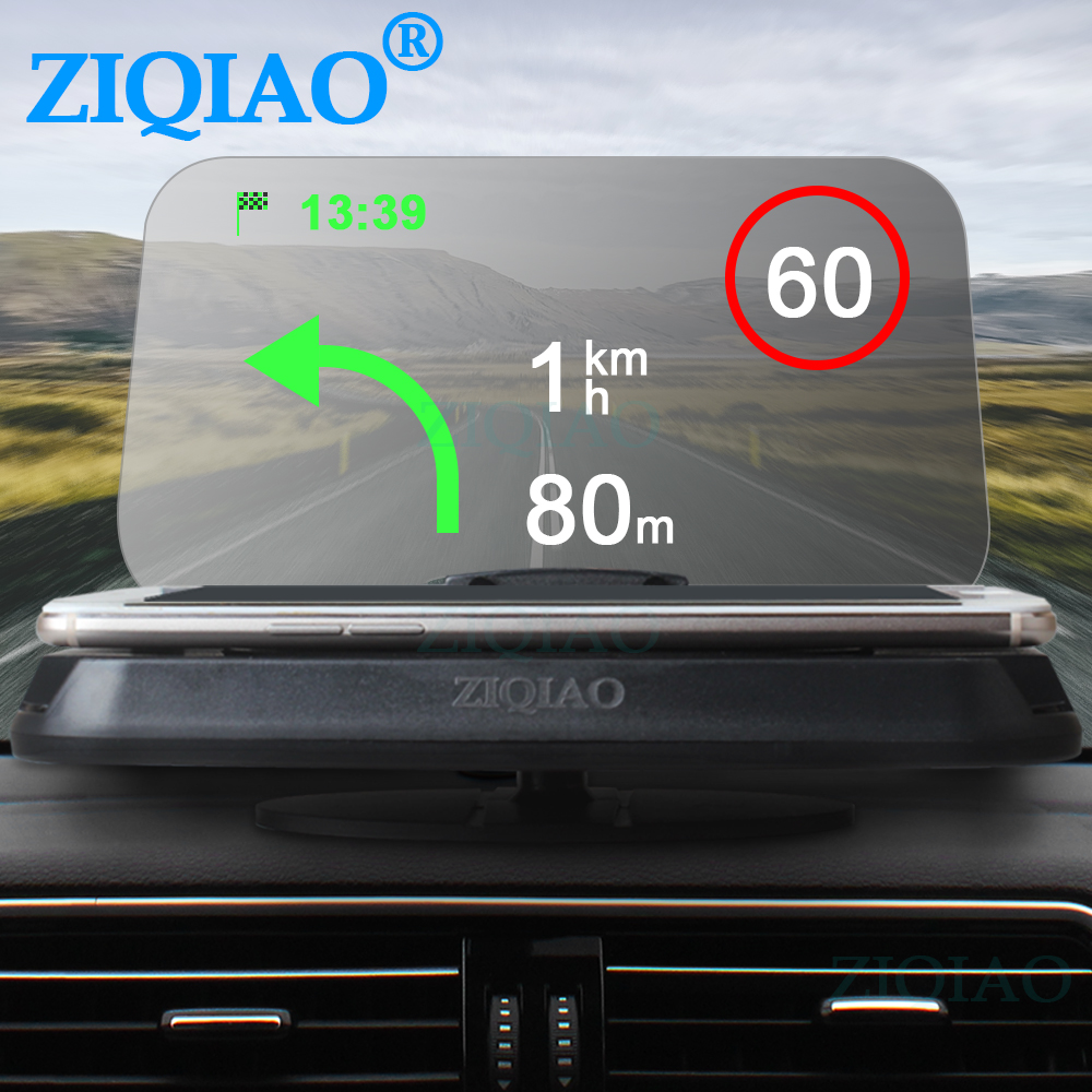 ZIQIAO Smartphone Holder Car HUD Head Up Display GPS Phone Navigation Projector