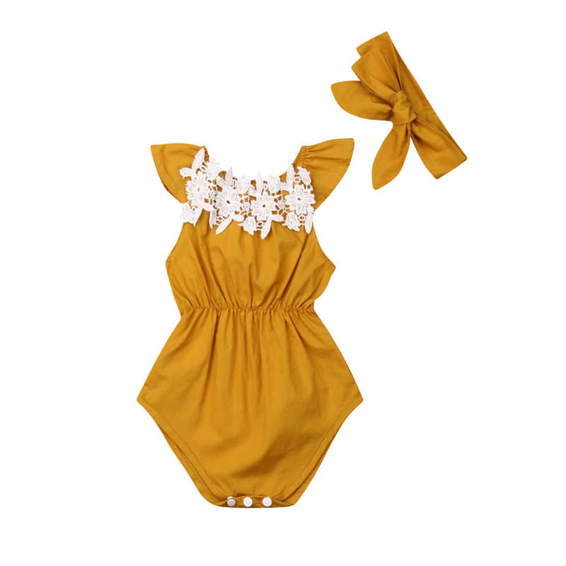 0-24M Baby Girl Clothes Flower 2019 Summer Baby Rompers+Headband Sleeveless Jumpsuit New Born Baby Clothes 2PCS China Outfits