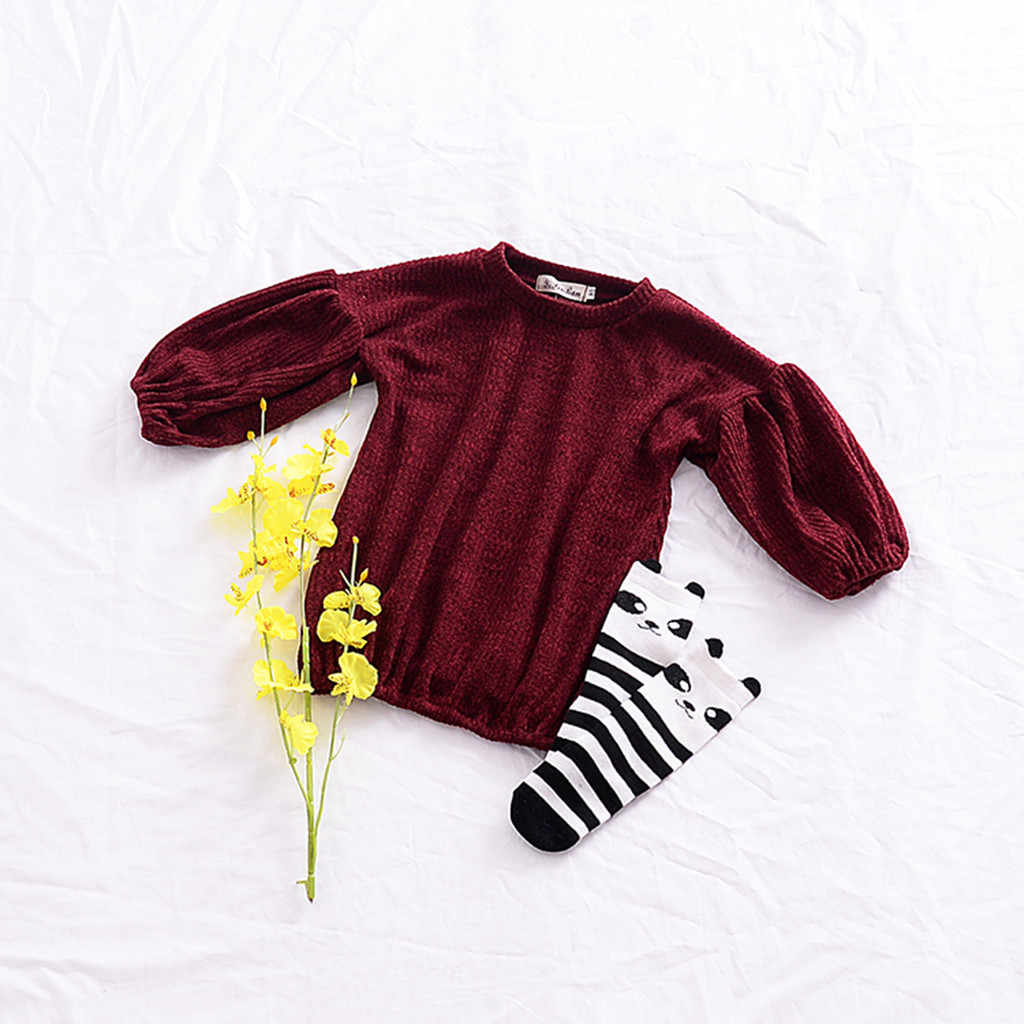 Hoodie Sweatshirt Baby Clothes  Toddler Infant Baby Kids Girls Solid Lantern Sleeve Shirt Tops Outfits Clothes толстовка Tops 5