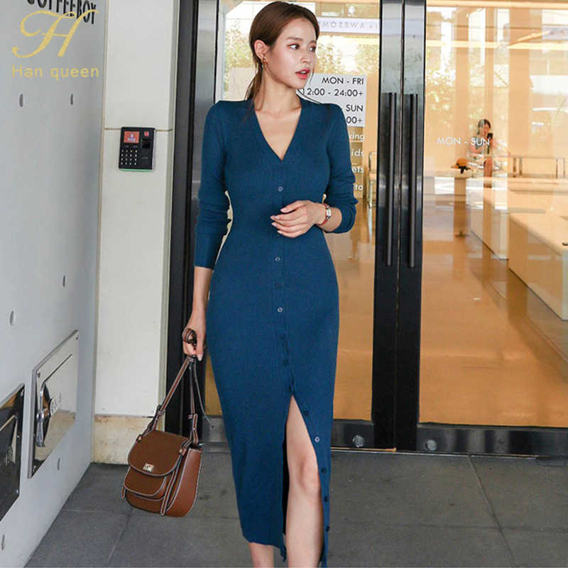 H Han queen осеннее женское 2019 Новое вязаное платье с длинным рукавом однотонное эластичное облегающее платье с поясом OL однобортное Vestidos