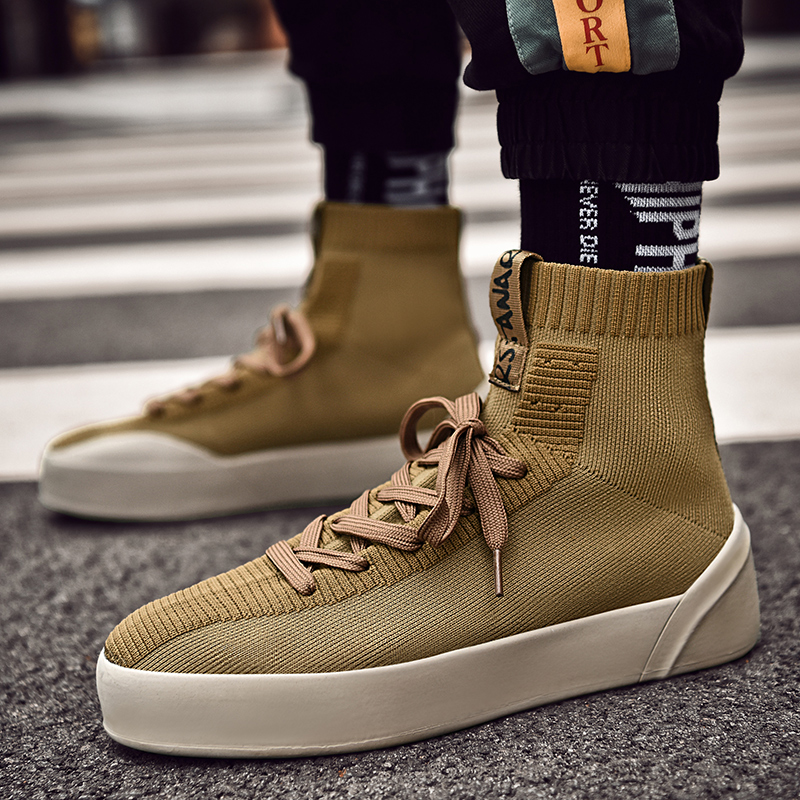 Men High Top Socks Sneakers Boots Ankle Man Causal Shoes Male Footwear Lace up Single/Plus Velvet Black Khaki Leisure Street
